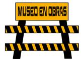 dibujo caballete con cartel Museo en obras